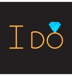 I do gold wedding ring with blue diamond vector