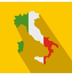 Map of Italy with national flag icon flat style vector image vector image