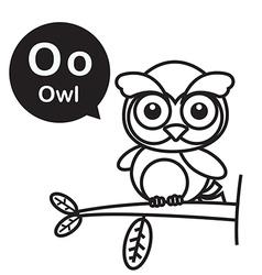 O Owl cartoon and alphabet for children to vector image