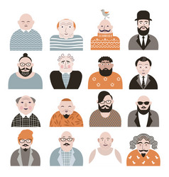 People avatar face icons vector