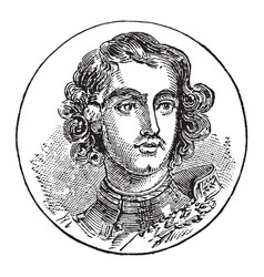 Peter i of russia vintage vector