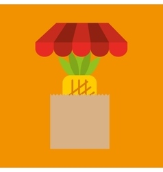 Pineapple bag filled fruit offer design vector