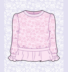 pink blouse with roses vector image vector image