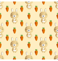Rabbit and carrot on a beige background vector