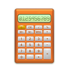 Realistic electronic red calculator vector
