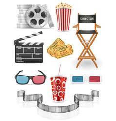set cinema icons stock vector image vector image