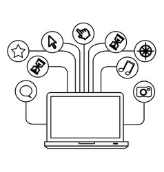 silhouette tech laptop computer database server vector image vector image
