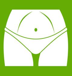 Slim woman body in panties icon green vector