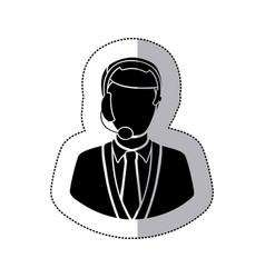 Sticker monochrome silhouette man call center vector