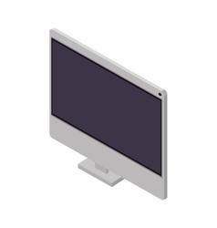 Tech screen computer in wide flat vector