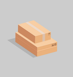 two cardboard boxes one lies on the other on a vector image