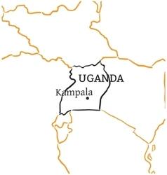 Uganda hand-drawn sketch map vector