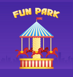 Vintage merry-go-round carousel icon fair symbol vector