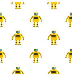 Yellow humanoid robot pattern seamless vector