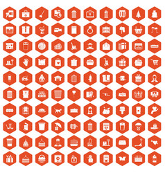 100 box icons hexagon orange vector