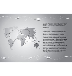 Paper airplanes fly over the world map vector