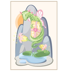 Floral green dragon with a gift and delicate vector image