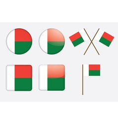 Badges with flag of madagascar vector