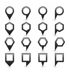 Flat map pins sign location icon with shadow vector