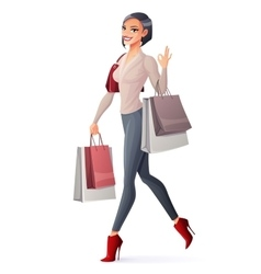 Smiling girl walking with shopping bags and vector