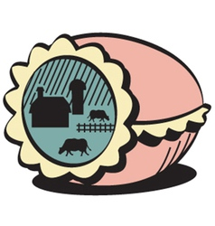 Farm in egg vector image