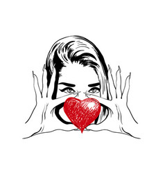 beautiful fashion woman with heart love vector image