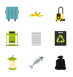 garbage icons set flat style vector image