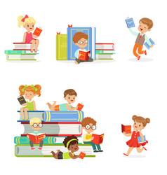 Kids reading books and enjoying literature set of vector