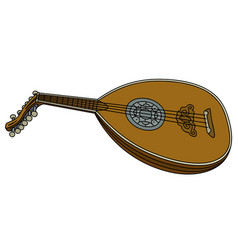Old wooden lute vector