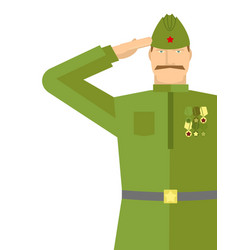 Russian veteran soldiers salute retro military vector