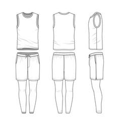 Templates of blank vest shorts jogging pants vector