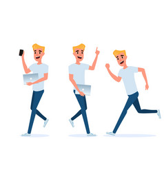 young man with smart phone and laptop vector image