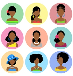 Set of flat icons with african women vector