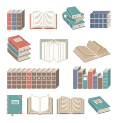 Book icons set color vector