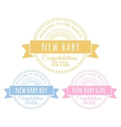 Blue and pink badges for newborn vector