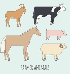 Farmer flat animals vector