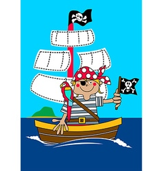 Pirate boy sailing on ship with parrot vector