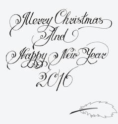 Merry christmas and happy new year 2016 hand-writt vector