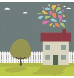 Landscape and house vector