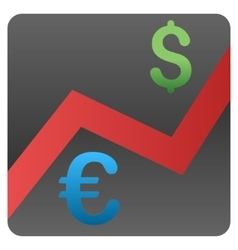 Euro dollar currency market gradient icon vector