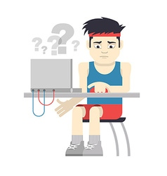 Athlete sitting at the computer vector