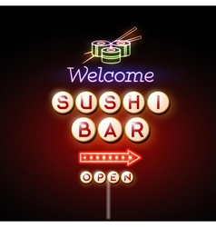 Sushi bar neon sign vector