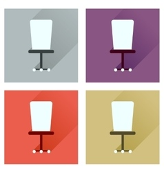 Concept of flat icons with long shadow office vector