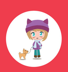 beautiful cartoon chibi girl with pet vector image