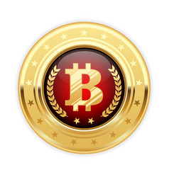 Bitcoin symbol on gold medal - cryptocurrency icon vector