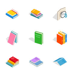 Books icons isometric 3d style vector