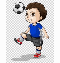Boy playing football on transparent background vector