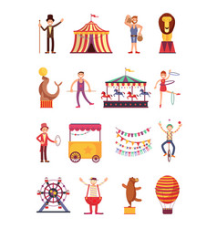 Carnival and circus cartoon fun characters fair vector
