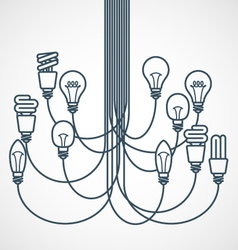 Chandelier made of light bulbs hanging on cords vector