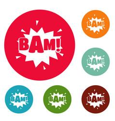 Comic boom bam icons circle set vector